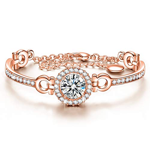J.NINA Rose-Gold Plated Bangle Bracelets with 5A Round Brilliant Cubic Zirconia Love Coronation Bangle Birthday Anniversary Christmas Jewelry Gifts for Women Girlfriend Lover Grandma Wife Daughter