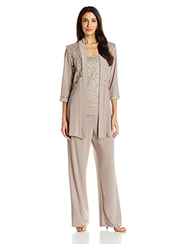 Pant Women For Wedding Suits - R&M Richards Women's Lace Pant Set, Mocha, 16