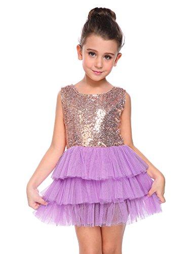 Purple Tutu Dress (Arshiner Little Girls Sleeveless Metallic Pleated Tulle Mesh Easter Costume Layered Princess Dress, Purple, 110(Age for 4-5Y))