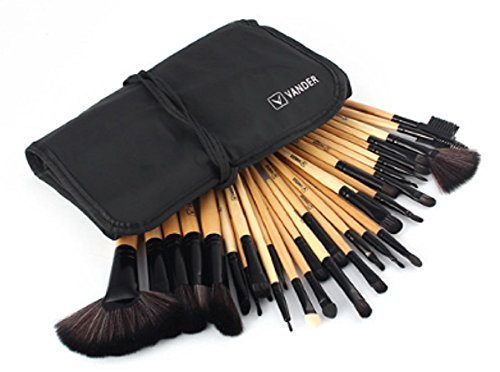 VANDER Set Of 32 Pieces Professional Makeup Brush Brown Foundation Eye Shadows Lipsticks Powder Make Up Brushes Tools W/ Bag Pincel Maquiagem Gift Lady