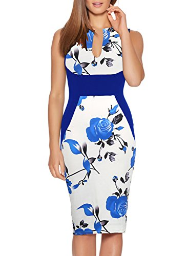 Fantaist Women's Sleeveless Floral Print Cocktail Dresses for Wedding Guest (M, FT601-Blue)