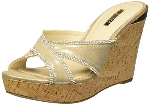 GUESS Woman 117207600037 Sandalias con Plataforma para Mujer, Color Oro, 25