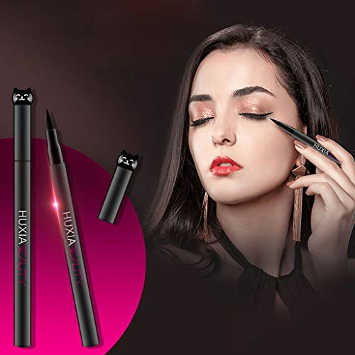 NOGOQU Lovely Cat Head Liquid Eyeliner Smooth Hypoallergenic Sweat-Proof Waterproof Long-Lasting for Light/Heavy Press Black