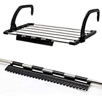 FLYNGO Stainless Steel Foldable Drying Rack Clothes Towels Dryer Shoe and Multipurpose Hanger Stand for Home Door Bathroom Windowsill Guardrail Corridor Balcony