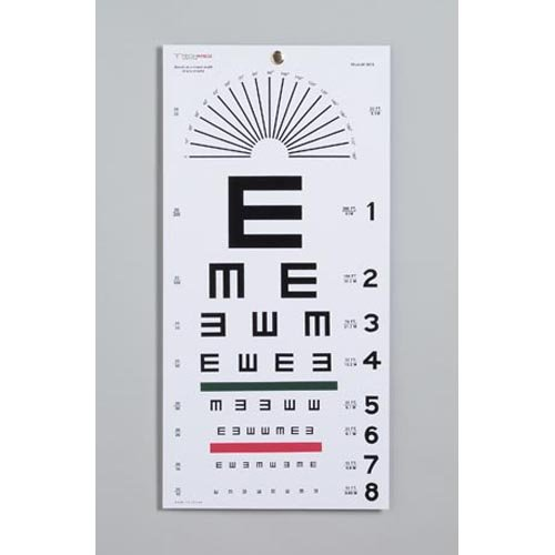 DUKAL 3051 Tech-Med Plastic Eye Chart, Tumbling E, Non-Reflective Matte Finish, 20' Test Distance, 11