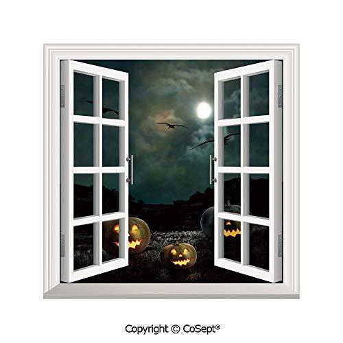 SCOXIXI Window Wall Sticker,Yard of an Old House at Night Majestic Moon Sky Creepy Dark Evil Face Pumpkins Decorative,3D Window View Decal Home Decor Deco Art (25.86x22.63 -