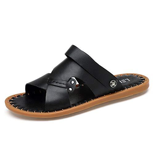 (Dig dog bone Men's Summer Sandals Slip on Style Slipper Genuine Leather Lightweight Lined Open Toe Shoes (Color : Black, Size : 9.5 D(M) US))