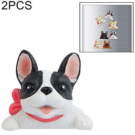 Wakaa 2 PCS Home Decorationity Bulldog francés Tie 3D Nevera Pasta ...