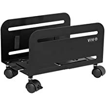 VIVO Black Computer Desktop ATX Case CPU Steel Rolling Stand Adjustable Mobile Cart Holder Locking Wheels (CART-PC01)
