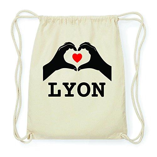 JOllify LYON Hipster Turnbeutel Tasche Rucksack aus Baumwolle - Farbe: natur Design: Hände Herz ToaJM