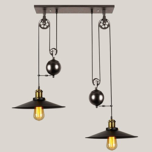 Pulley Industrial Ceiling Light Black Iron Painted Vintage Creative Pulley Style Lights Vintage Pendant Lighting for Kitchen Island Bar