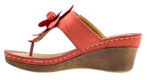 Gc Schoenen Dames Sydney Rozet Slide Wedge Sandals Koraal Fl