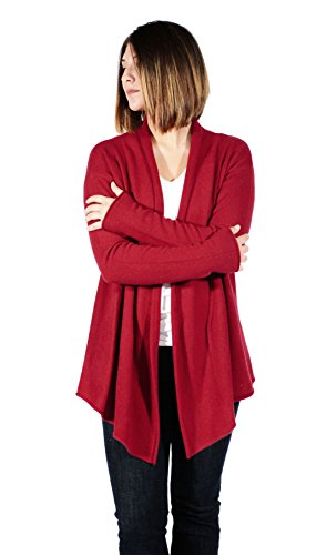Gigi Reaume 100% Cashmere Womens Sweater, Open Front Cardigan, Shawl Collar Swing Style (Large, Burgundy)