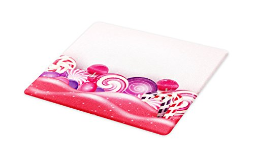 Ambesonne Modern Cutting Board, Cute Rainbow-Swirl Lollipop