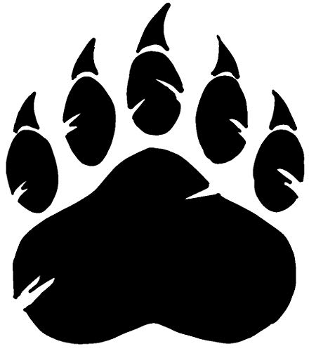 - hBARSCI Bear Paw Vinyl Decal - 5 Inches - for Cars, Trucks, Windows, Laptops, Tablets, Outdoor-Grade 2.5mil Thick Vinyl - Black