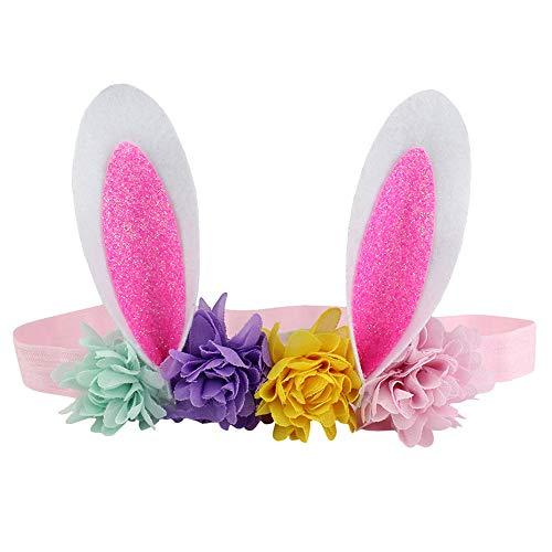 LOKODO Easter Babies Headband Flower Rabbit Ears Hair Band Easter Sunday Multicolor Hair Decor Accessory ()