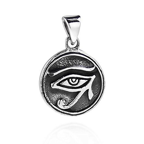 AeraVida Circle Eye of Horus Egyptian Symbol .925 Sterling Silver Pendant (Eye Pendant Circle)