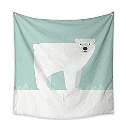 Anniutwo Apartment Decor Tapestry Vector Illustration of a Polar Bear Bedspread Dorm Accessories Decor 32W x 32L Inch