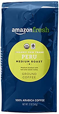 AmazonFresh Fair Trade Organic Peru Coffee, Medium Roast, Ground, 12 Ounce