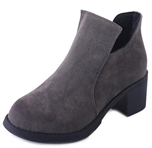 Chunky Heels Ankle Frosted Gray Aisun Women's Daily Mid Booties PwxIpnzqCA