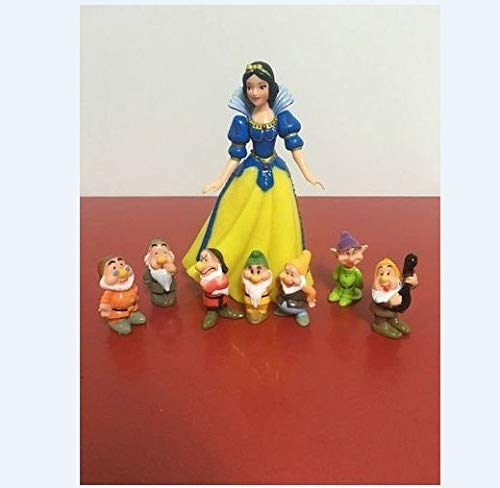 8Pcs New Snow White Princess and the Seven Dwarfs Cake Toppers Figures