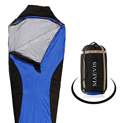 Maevis all Season 330GSM Sleeping Bag Envelope Mummy Lightweight Portable Waterproof with Compresshion Bag - Fit for Camping Hiking Traveling & Outdoor (Royal Blue, Mummy)