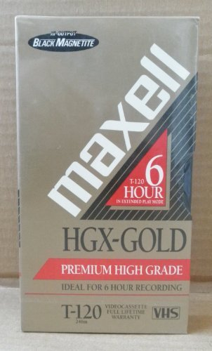 Maxell HGX-Gold T-120 6 Hour Premium High Grade Blank VHS Tape