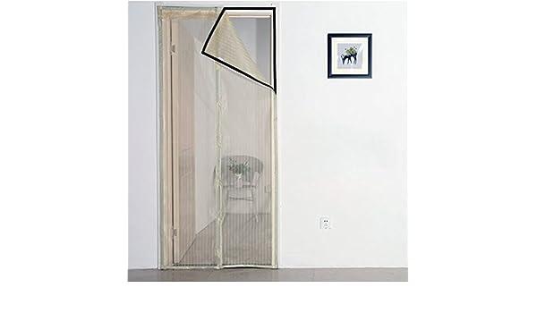 J&DSSSU Mosquitera Puerta magnética Cubierta con Cortina de Malla Resistente Volar Cortina corredera Vidrio Puertas Beige-Beige 200x220cm(79x87inch): Amazon.es: Hogar