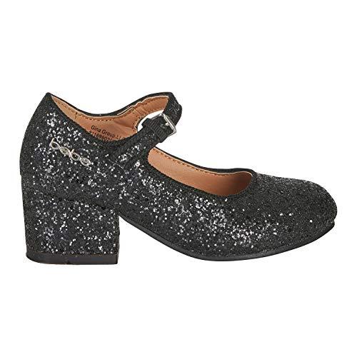 bebe Girls Mary Jane Shoes Size 2 Glitter Upper with Buckle Strap Slip-On Dress Mid-Heel Black -