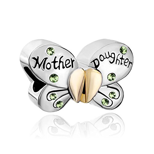 ReisJewelry Mother Daughter Matching Butterfly Charms Mom Charm Bead For Snake Chain Bracelet (Grass Green)