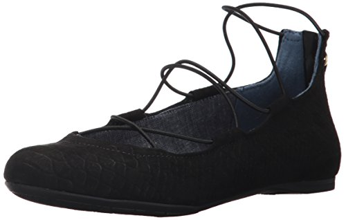 Dr. Scholl's Women's Glory Flat, Black Microsuede Snake Print, 7 M US