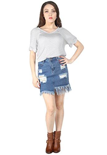 ue Denim Ripped Fringe Skirt (Denim London Skirt)