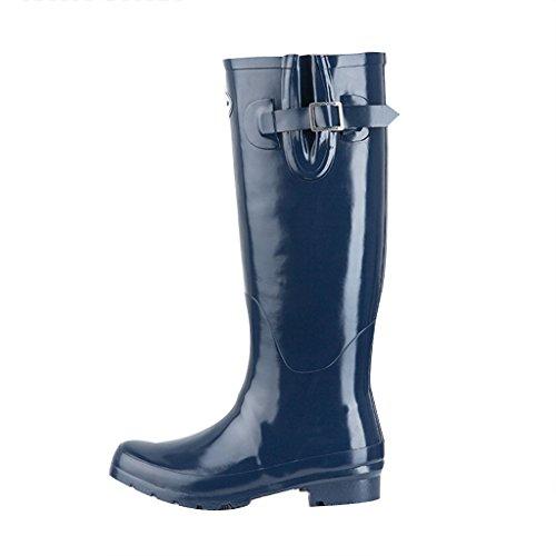 Rubber Women's Boots Shoes Winter Rain Slip Spring Anti Tall Snow Summer Rain for Gloss Blue2 Wellies 1IHqw5