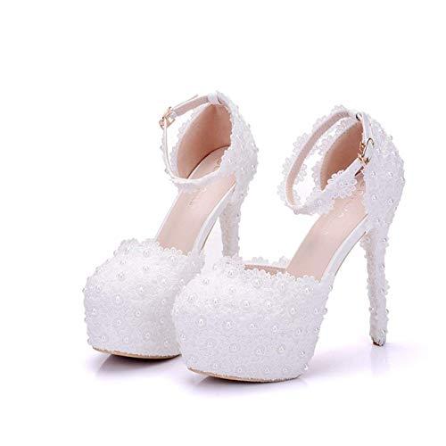 Reino Tamaño Unido De 5 4 Plataforma Abalorios Zapatos Perla color Hhgold Boda Correa Señoras Tobillo Blancos Oculta Nupciales Del 1z6nwxOpUq