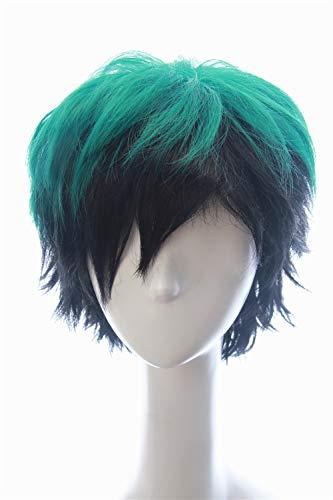 Soul Wigs: Izuku Midoriya in My Hero Academia Inspired Short Green Hair with Dark Black Shadows Slightly Spiky Fluffy Wig Halloween Japanese Anime Costume Prestyled Hair for Teens and -