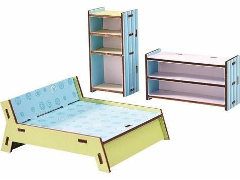 HABA Little Friends Master Bedroom - Dollhouse Furniture for 4