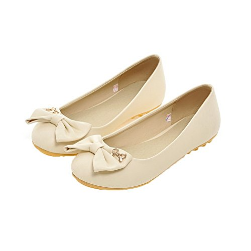 Amoonyfashion Mujeres Low-heels Pu Pull-on Solid Round-toe Pumps-Zapatos Beige