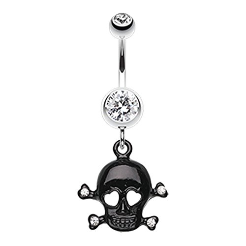 Skull Navel Ring (Heart Eyed Skull and Crossbones Sparkle 316L Surgical Steel Freedom Fashion Belly Button Ring (Sold by Piece) (14GA, 3/8