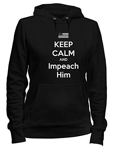 Cappuccio Nero CALM Donna T KEEP AND HIM IMPEACH Felpa TKC0445 Shirtshock tqpt1I