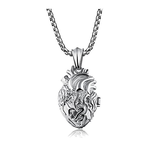 Um Jewelry Personalised Mens Womens Stainless Steel Organ Anatomical Heart Pendant Couples Necklace
