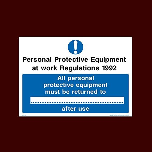 Personal Protective Equipment at Work Regulations 1992 Sign Stickers Self Adhesive Vinyl Personal Protective Equipment, Lab Coats, High Visibility, Garments
