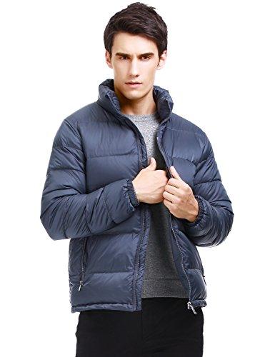 Puredown Men's Classic Outdoor Waterproof Goose Down Puffer Jacket, Dark Grey ()