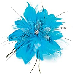 Lillian Rose Aqua Blue Feather Flower Hair Accessories Clip