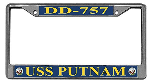 Toanovelty USS Putnam DD-757 Stainless Steel License Frame car Metal Auto License Plate ()
