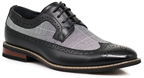 - Titan01 Men's Spectator Tweed Plaid Two Tone Wingtips Oxfords Perforated Lace up Dress Shoes (8.5, Black)