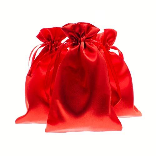 """Linen and Bags 3"""" x 4"""" Red Satin Gift Bags Wedding Favor Drawstring Bags Baby Shower Christmas Gift Bags 50 per Pack"""