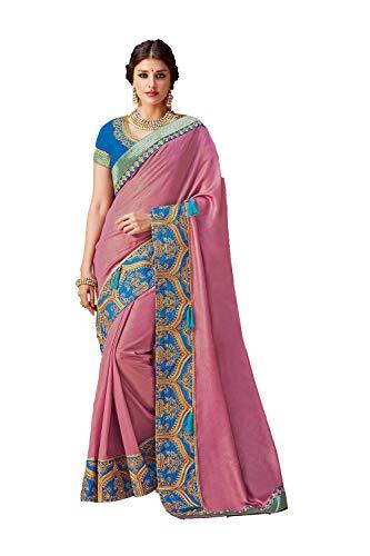 Women Traditional Sarees Da Indian Wear Onion Wedding Facioun 3 for Designer Party Sari Pink SFxAwCn