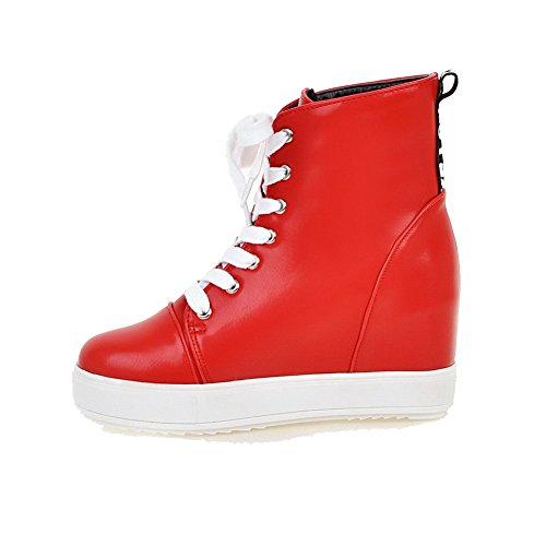 Lace Round Heels Closed Boots Red High Material Solid AgooLar up Soft Toe Women's Ifwzq6F