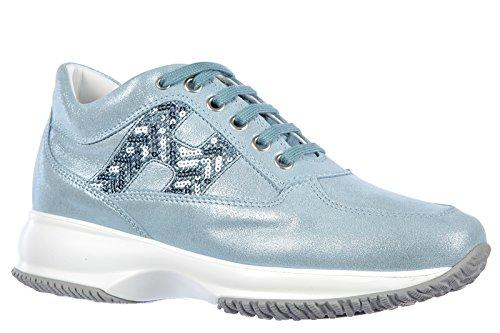 Hogan scarpe sneakers donna in pelle nuove interactive h spigata blu