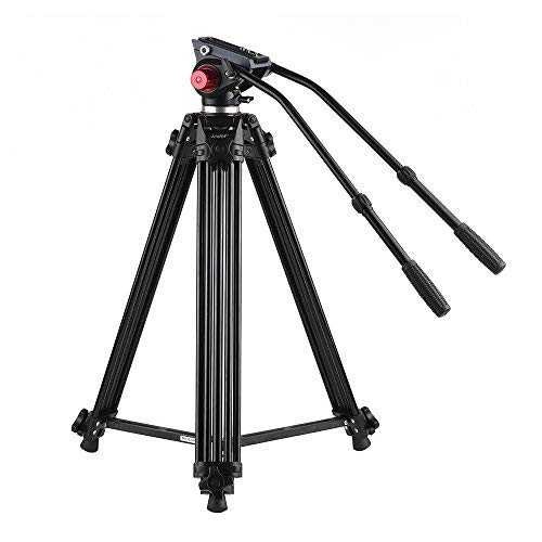 Image of Andoer 72 inch Professional Aluminum Alloy Video Tripod with Dual Handled Fluid Hydraulic Head Max. Load 8kg 180cm for DSLR Camcorder